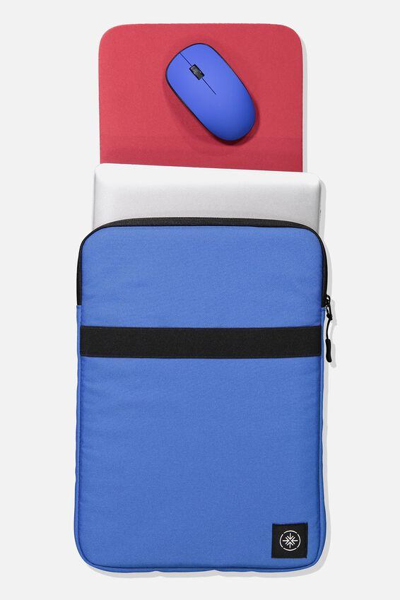 Transit Laptop Case, BLUE/RED & WHITE TEXT