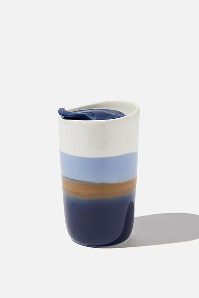 Ceramic Tumbler, NAVY/WHITE REACTIVE