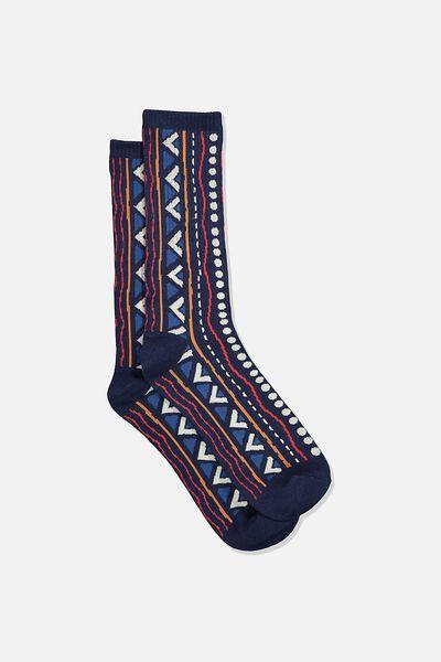Single Pack Active Socks, NAVY/BLUE/ORANGE TRIBAL