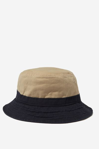 Bucket Hat, NAVY/TAN BLOCK