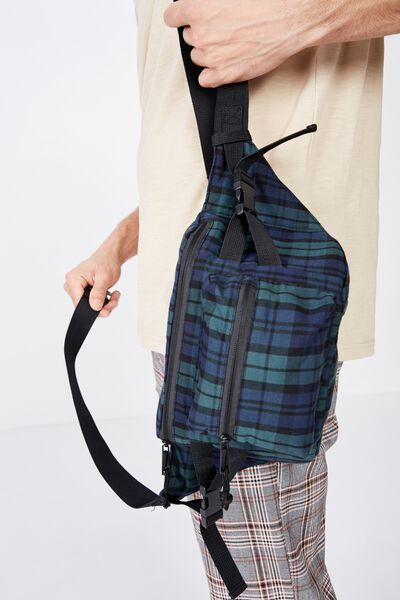 Bumbag, GREEN/NAVY/BLACK PLAID
