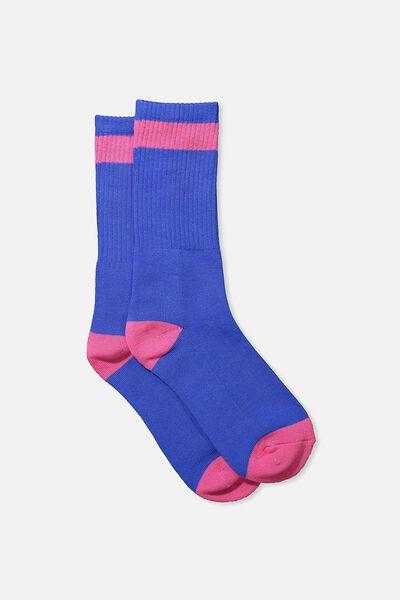 Single Pack Active Socks, ELECTRIC BLUE/VIBRANT PINK BLOCK