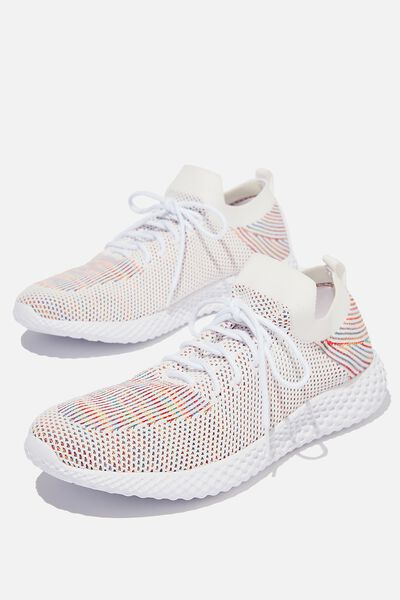 Hatcher Knit Trainer, WHITE/RAINBOW/WHITE