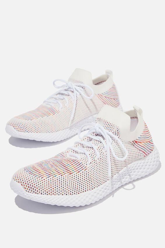 Hatcher Knit Trainer, WHITE/RAINBOW/WHITE