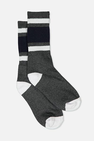 Single Pack Active Socks, CHARCOAL/STRIPE