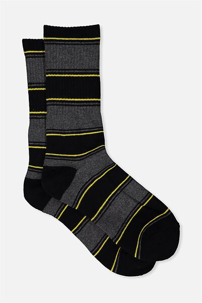 Single Pack Active Socks, CHARCOAL/SO CAL STRIPE