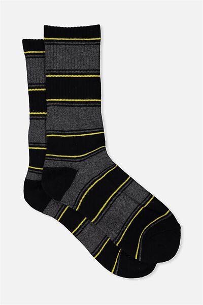 Single Pack Active Socks, CHARCOAL/SO CAL STRIPE