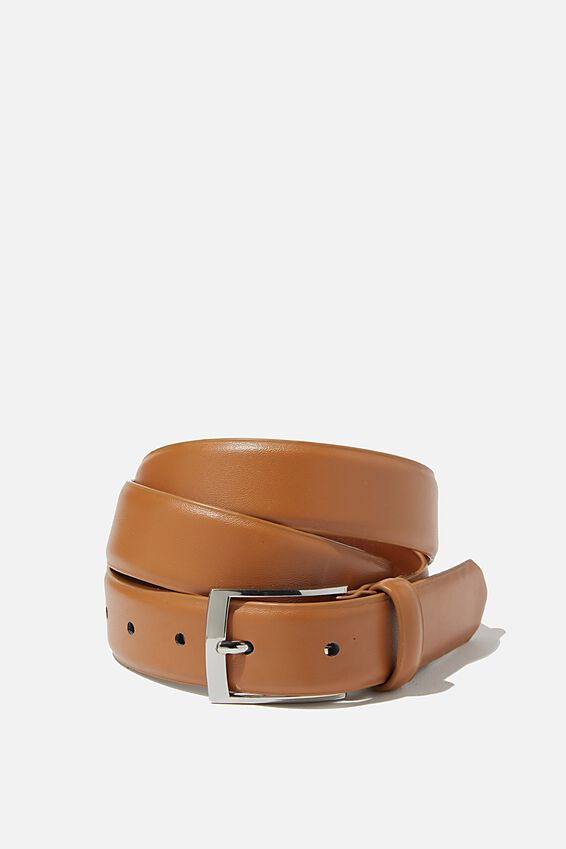 Dress Belt, TAN/SILVER