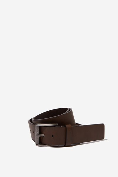 Square Buckle Pu Belt, BROWN