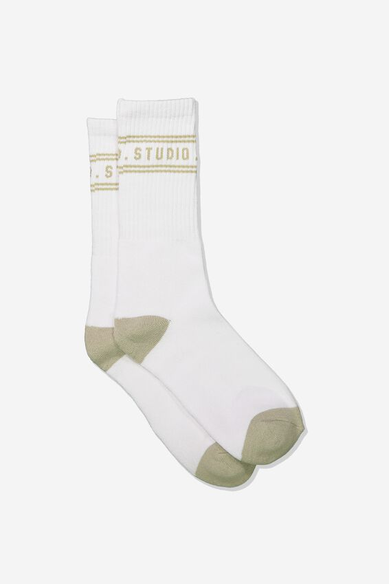 Single Pack Active Socks, WHITE/TAUPE WEEKEND STUDIO