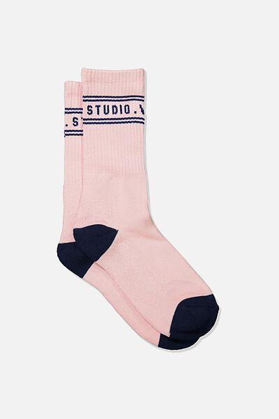 Single Pack Active Socks, DUSTY PINK/NAVY WEEKEND STUDIO