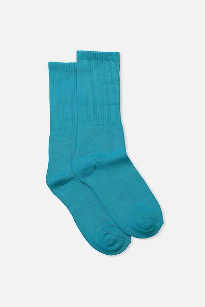 Single Pack Active Socks, TEAL BLUE SOLID