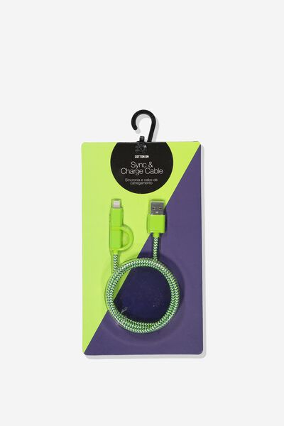 2 In 1 Charge/Sync Cable, LIME/NAVY STRIPE/MATTE GLOSSY