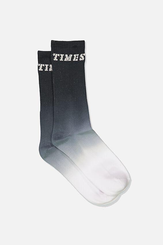 Single Pack Active Socks, GRAPHITE/WHITE DIP DYE/GOODTIMES
