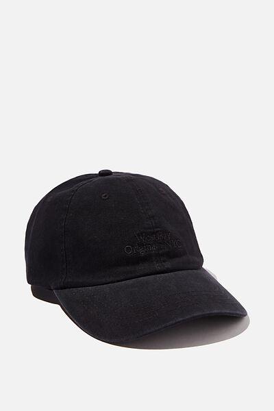 Strap Back Dad Hat, BLACK/BLACK/WEST BAY NYC