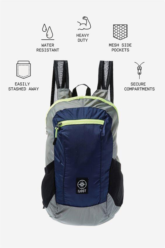 Packable Daypack, GREY/TRUE NAVY