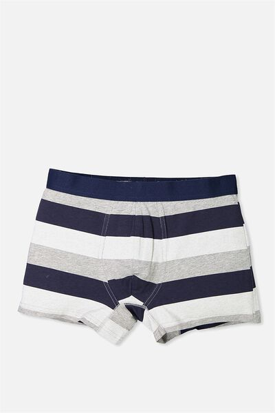 Single Pack Trunks, GREY MARLE/NAVY STRIPE