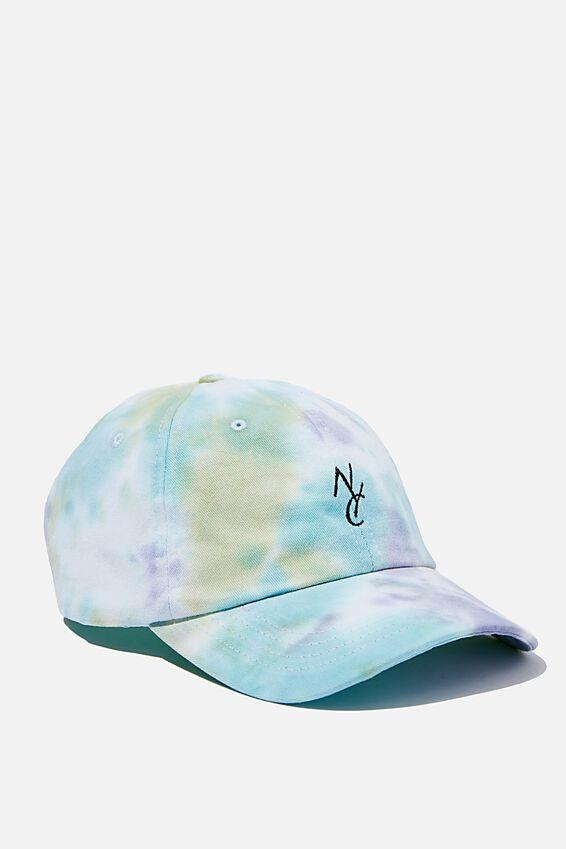 Strap Back Dad Hat, AQUA/GREEN/TIE DYE/NYC LINK
