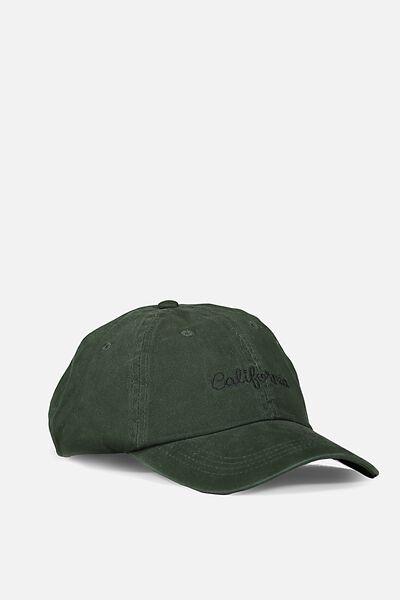 Strap Back Dad Hat, PINENEEDLE GREEN/CALIFORNIA SCRIPT
