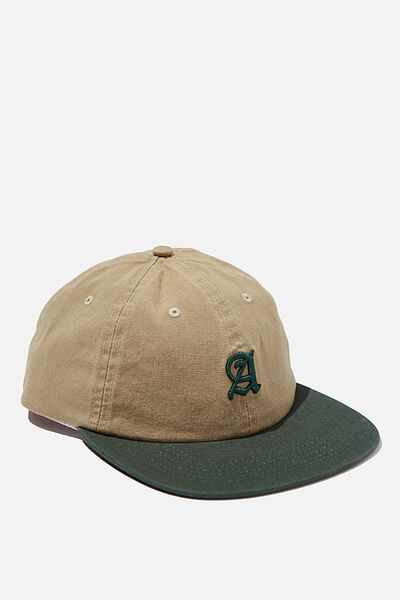 6 Panel Hat, KHAKI/FOREST GREEN/CALIGRAPHY A