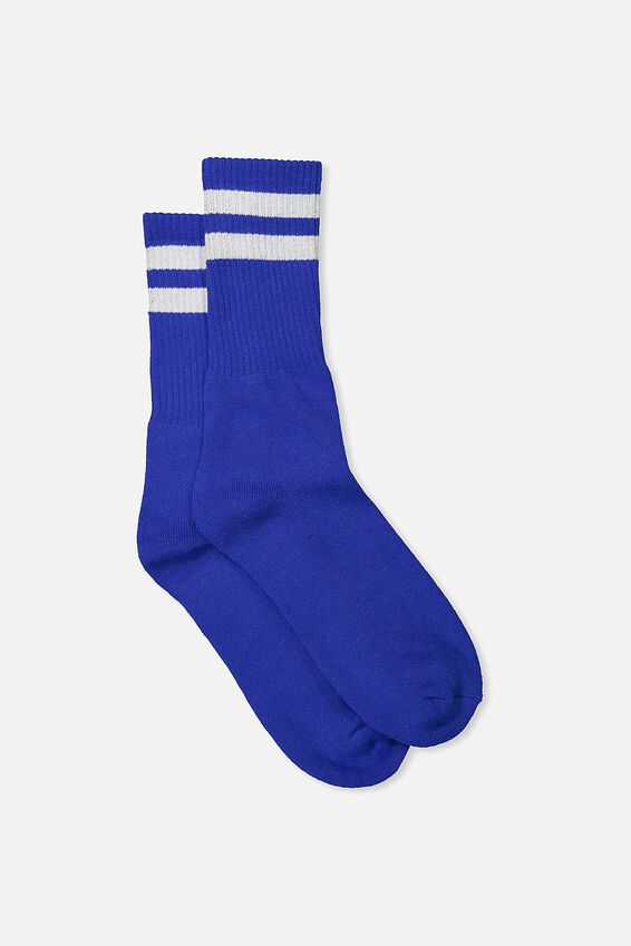 Single Pack Active Socks, COBALT SPORT STRIPE