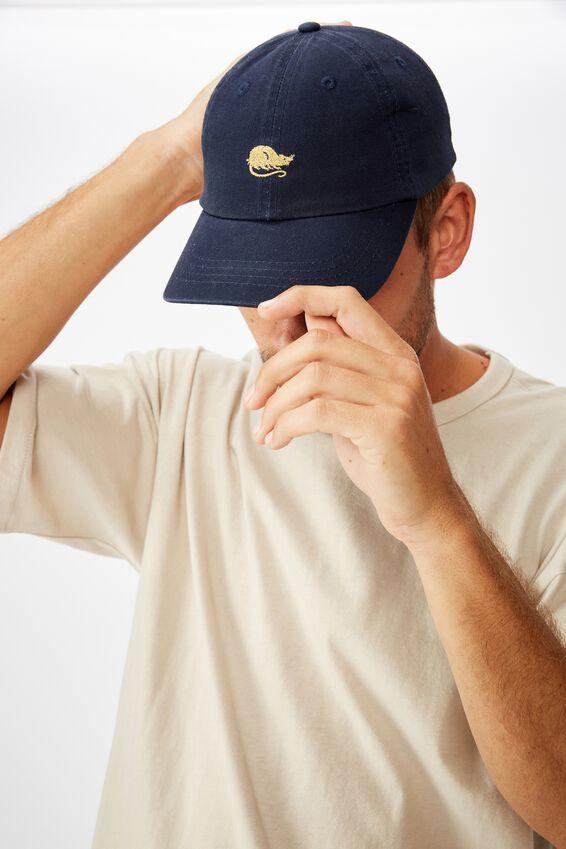 Strap Back Dad Hat, NAVY/GOLD RAT