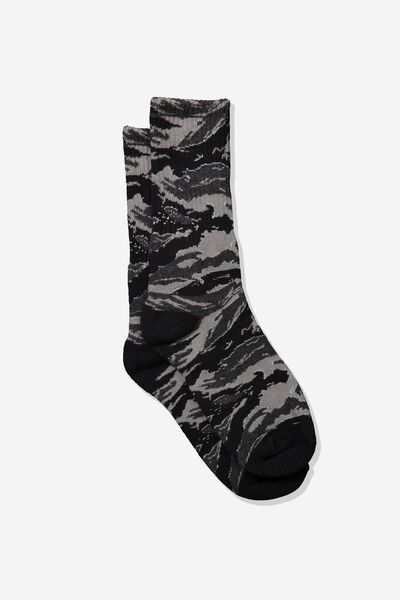 Single Pack Active Socks, BLACK/TIGER CAMO
