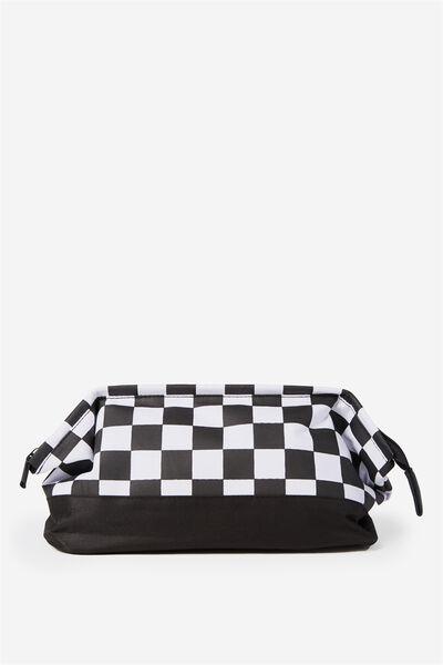 Toiletry Bag, BLACK WHITE CHECK/BLACK