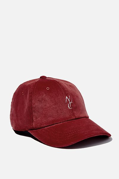 Strap Back Dad Hat, BURNT RED CORDUROY/WHITE/NYC LINK