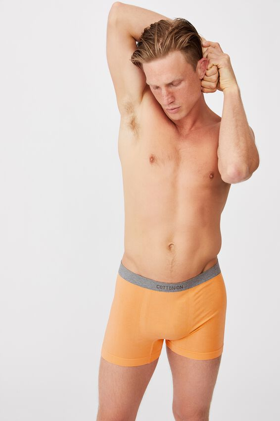 Mens Seamless Trunks, WASHED ORANGE/GREY MARLE