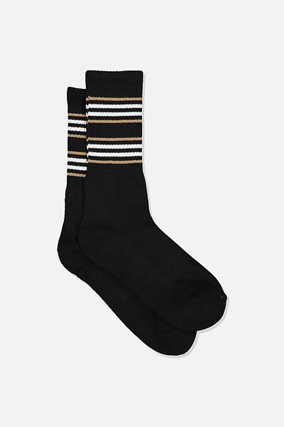 Single Pack Active Socks, BLACK/SAND CUFF STRIPE