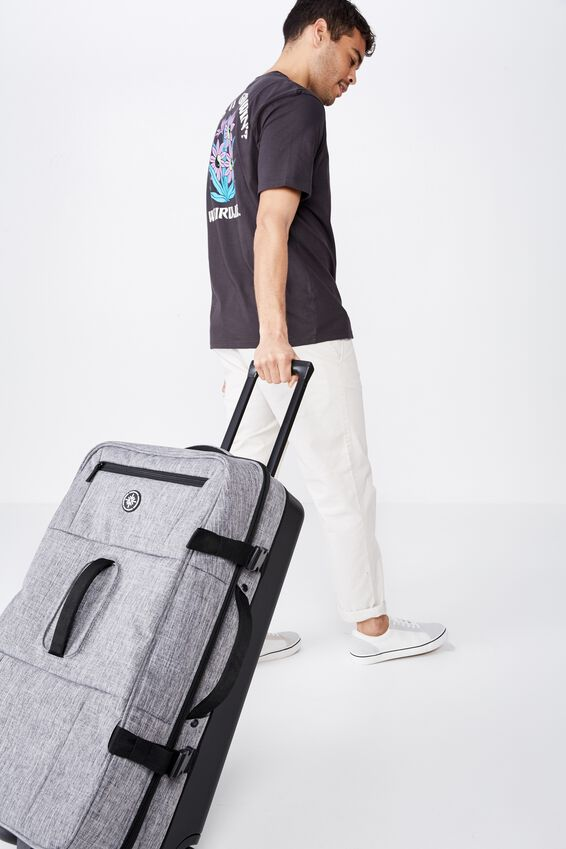 Lrg Soft Suitcase, GREY CROSSHATCH