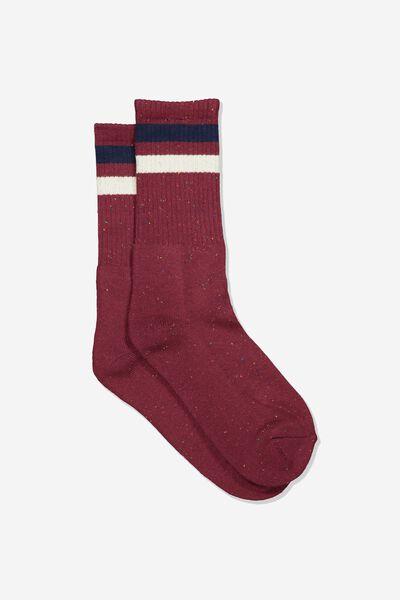 Single Pack Active Socks, BURGUNDY FLECK SPORT STRIPE