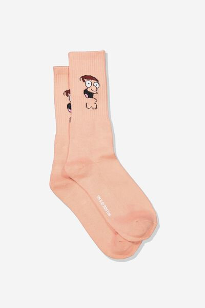 Single Pack Active Socks, LC FOX PEACH/PETER GRIFFIN