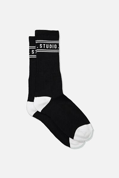 Single Pack Active Socks, BLACK/WHITE WEEKEND STUDIO