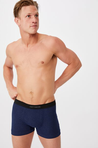 Mens Seamless Trunks, NAVY MARLE/BLACK