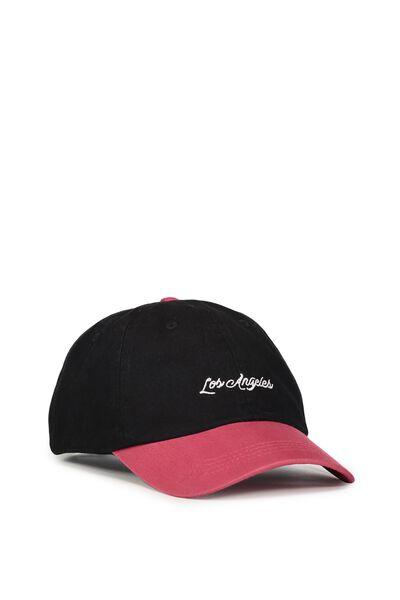 Strap Back Dad Hat, LOS ANGELES/WASHED BLACK