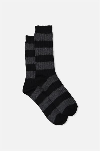 Single Pack Active Socks, CHARCOAL/BLACK STRIPE