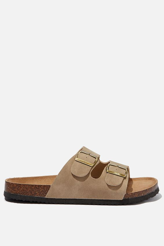 Double Buckle Sandal, TAUPE