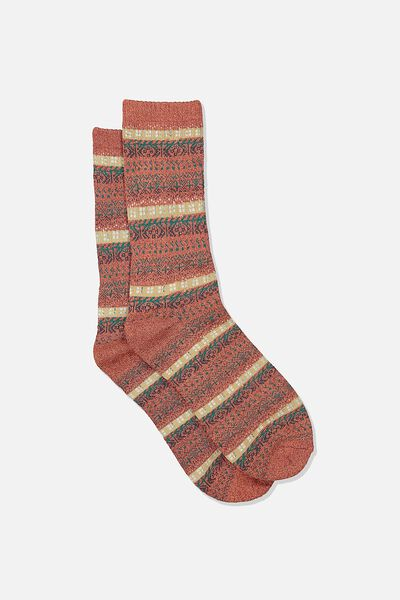 Single Pack Active Socks, BURNT RED/TEAL/FAIRISLE