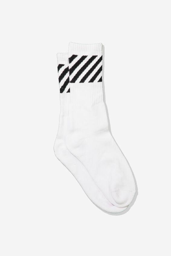 Single Pack Active Socks, WHITE/DIAGONAL STRIPE