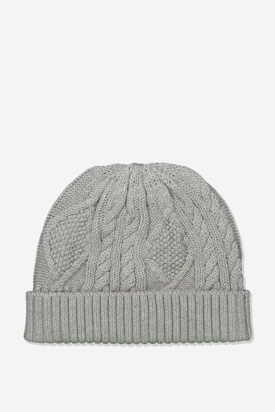 Cable Knit Beanie, GREY MARLE