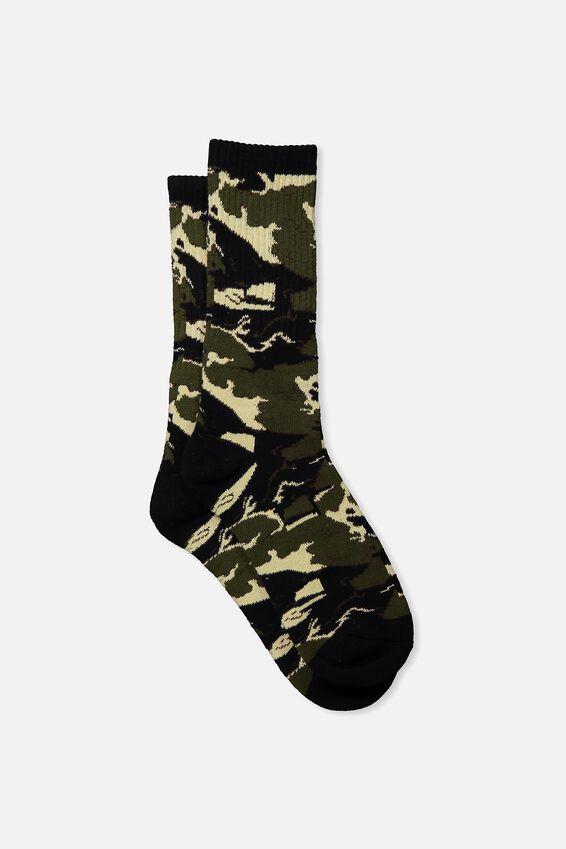 Single Pack Active Socks, TIGER CAMO/BLACK