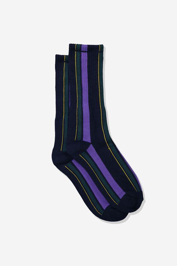 Single Pack Active Socks, NAVY/PURPLE/TEAL/ORANGE VERTICAL STRIPE