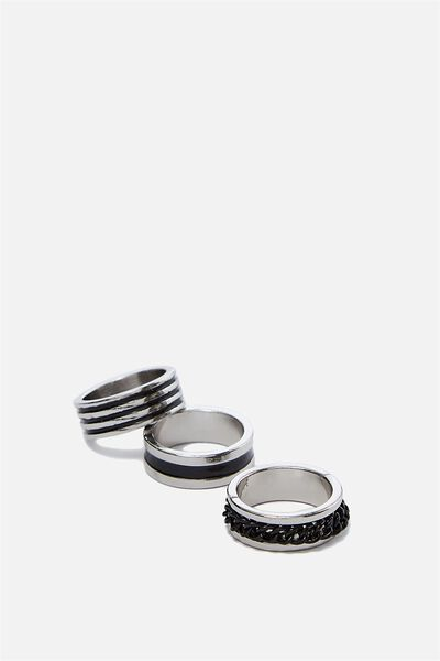 Rings 3 Pack, BLACK/SILVER