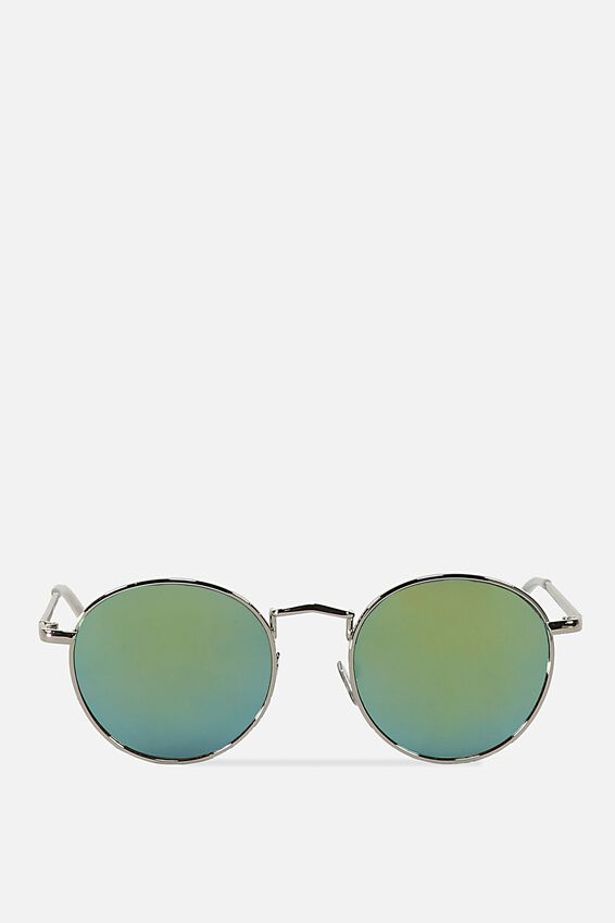 Columbus Sunglasses, SILVER/GREEN YELLOW