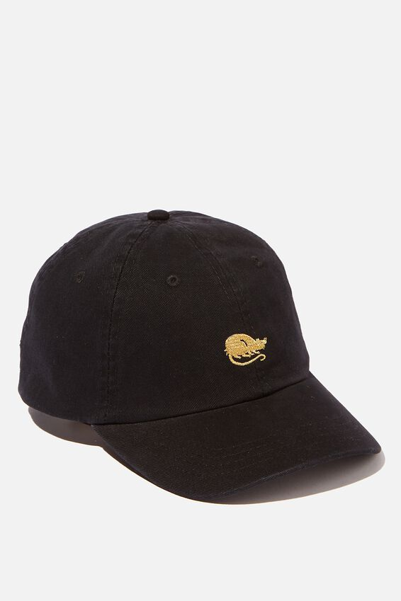 Strap Back Dad Hat, BLACK/GOLD RAT