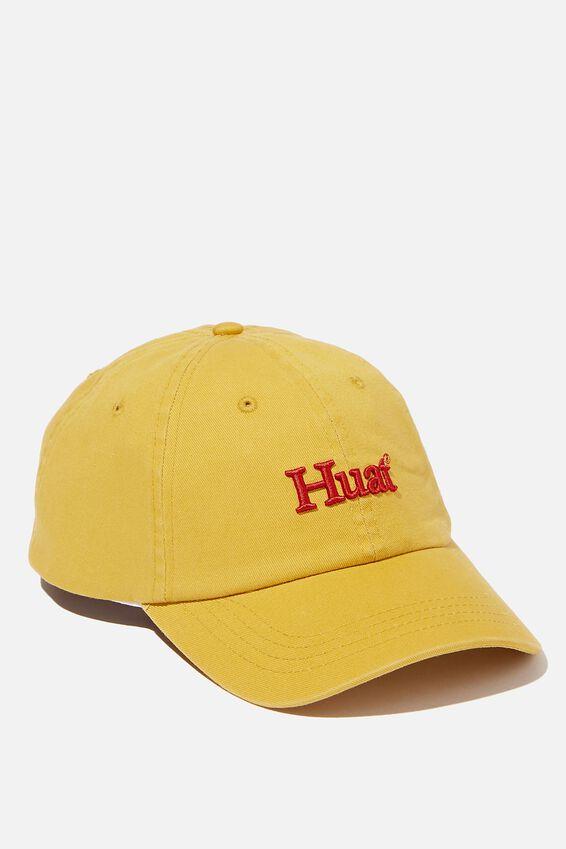 Strap Back Dad Hat, NUGGET GOLD/RED/HUAT