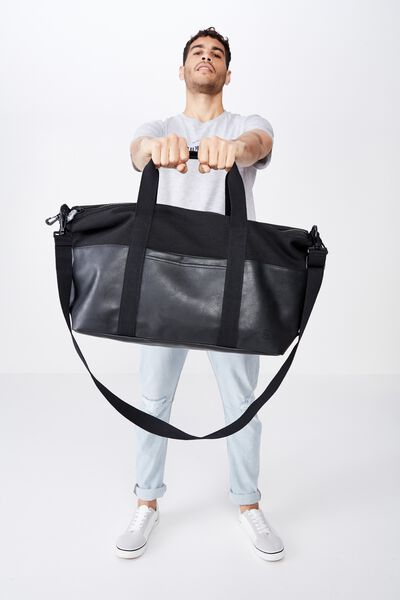 2 Tone Transit Duffle Bag, BLACK