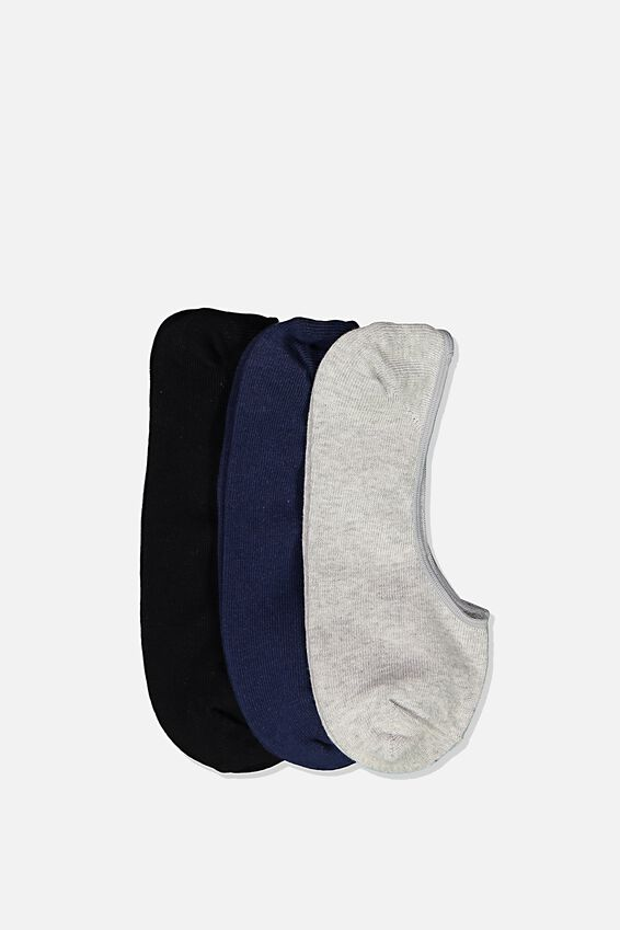 Invisible Socks 3 Pack, GREY MARLE/NAVY/BLACK